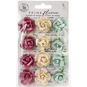 Prima: In The Dark/Midnight Garden Paper Flowers 12/Pkg