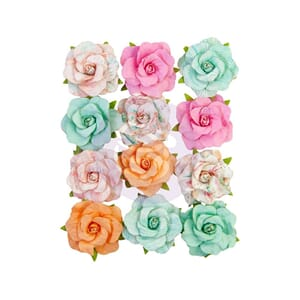Prima: Tropical Surf Mulberry Paper Flowers 12/Pkg