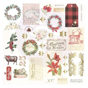 Prima: Christmas In The Country Cardstock Ephemera, 34/Pkg