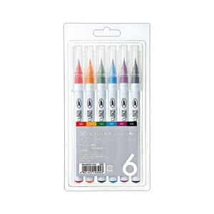 Kuretake: Zig Clean Color Real Brush Markers, 6/Pkg