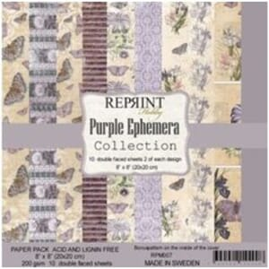 Reprint Purple Ephemera Collection 8x8 Inch Paper Pack