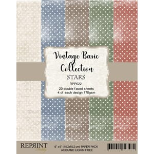 Reprint: Vintage Basic Star Collection Pack, 6x6, 20/Pkg
