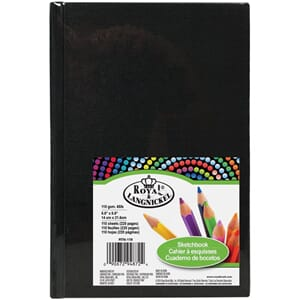Royal Brush: Black - Canvas Cover Sketchbook 5.5x8.5 inch