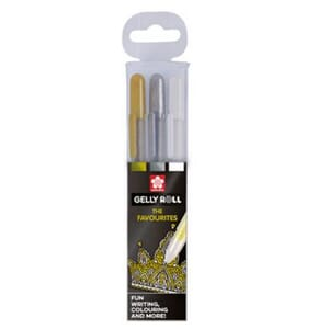 Sakura: Gold, Silver & White - Gelly Roll Medium Point Pen