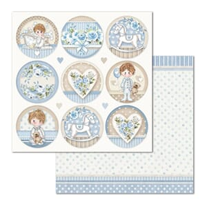 Stamperia: Little Boy Round Double-Sided Cardstock