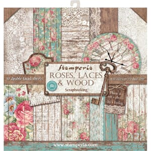 Stamperia: Roses, Laces & Wood Paper Pack, 12x12, 10/Pkg