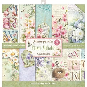 Stamperia: Flower Alphabet Paper Pack, 12x12, 10/Pkg