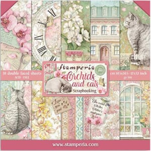 Stamperia: Orchids and Cats Paper Pack, 12x12, 10/Pkg