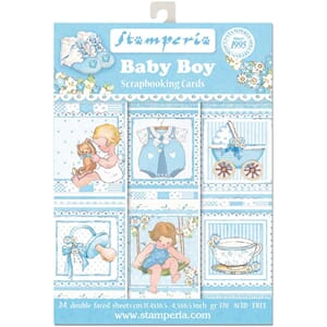 Stamperia: Baby Boy Cards Pad, str 4.5x6.5 inch, 24/Pkg