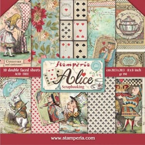 Stamperia: Alice Paper Pack, 8x8, 10/Pkg
