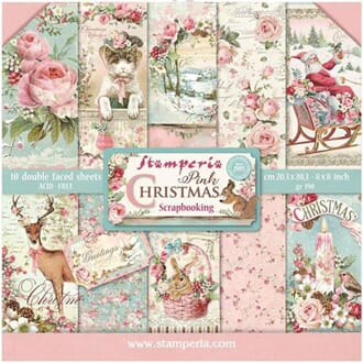 Stamperia: Pink Christmas Paper Pack, 8x8, 10/Pkg