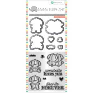 Mama Elephant: Lovey Puppy Stamp & Die Set, 4x8 inch