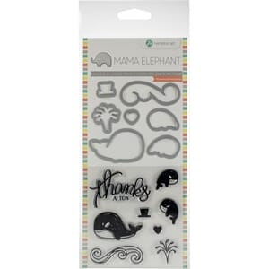 Mama Elephant: Whale Thanks Stamp & Die Set, 4x8 inch