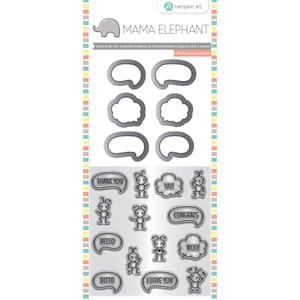Mama Elephant: Chit Chat Stamp & Die Set, 4x8 inch