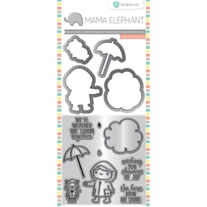 Mama Elephant: Showers Of Joy Stamp & Die Set, 4x8 inch