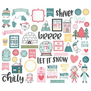 Simple Stories: Freezin' Season Bits & Pieces Die-Cuts 54/Pk