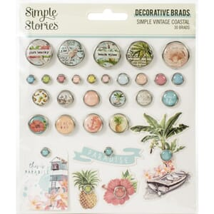 Simple Stories: Simple Vintage Coastal Brads, 30/Pkg