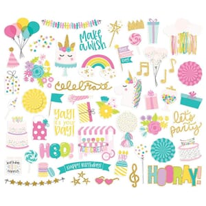 Simple Stories: Magical Birthday Bits & Pieces, 52/Pkg