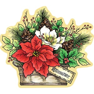 Stampendous: Poinsettia Mounted Stamp, 4.5x3.75 inch