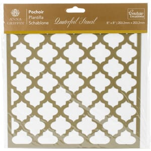 Couture Creations: Quatrefoil Arabesque Stencil, 8x8 inch