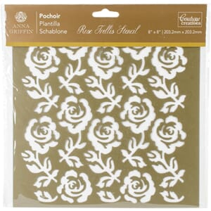 Couture Creations: Rose Trellis Arabesque Stencil, 8x8 inch