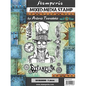 Stamperia: Clocks and Border Rubber Stamps, A5, 3/Pkg